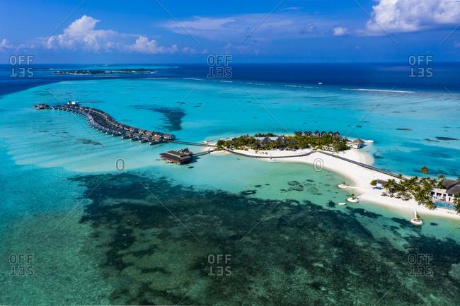 Maldives- South Male Atoll- Kaafu Atoll- Aerial view of resorts