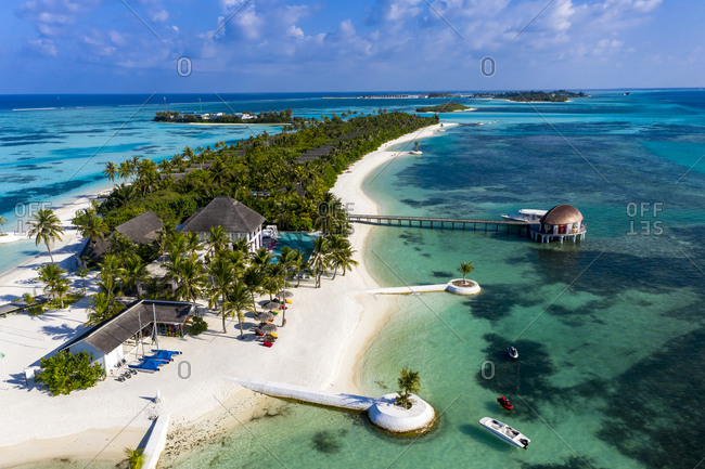 Maldives- South Male Atoll- Aerial view of resort on Maadhoo