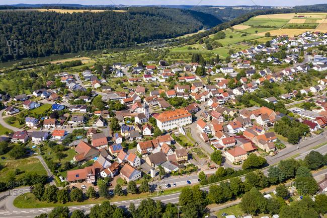 Germany- Bavaria- Binau- Aerial view of countryside town