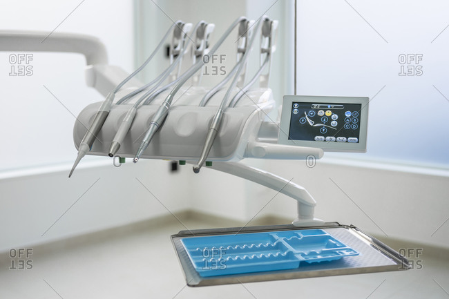 Dentist chair and equipment in dental clinic