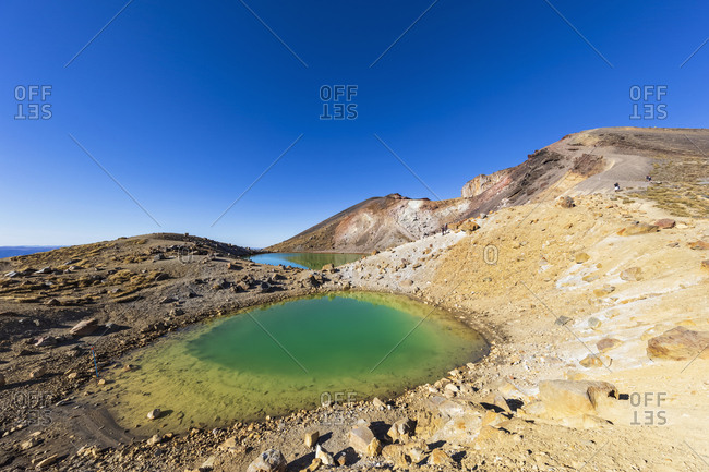 New Zealand- North Island- Clear blue sky over Emerald Lakes in North Island Volcanic Plateau