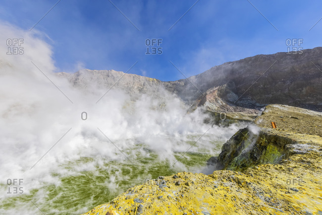 New Zealand- North Island- Whakatane- Sulphuric fumes coming out of crater lake on White Island (Whakaari)