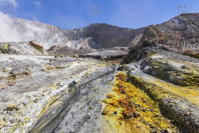 New Zealand- North Island- Whakatane- Sulphur deposit on White Island (Whakaari)