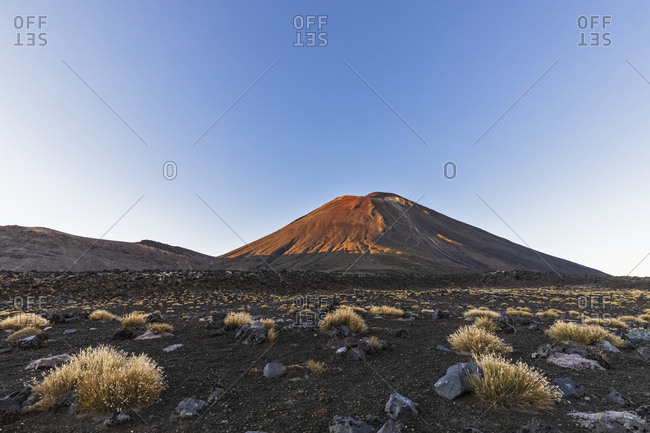 New Zealand- Oceania- North Island- Tongariro National Park- North Island Volcanic Plateau- Tongariro Alpine Crossing Trail- Mount Ngauruhoe in morning light