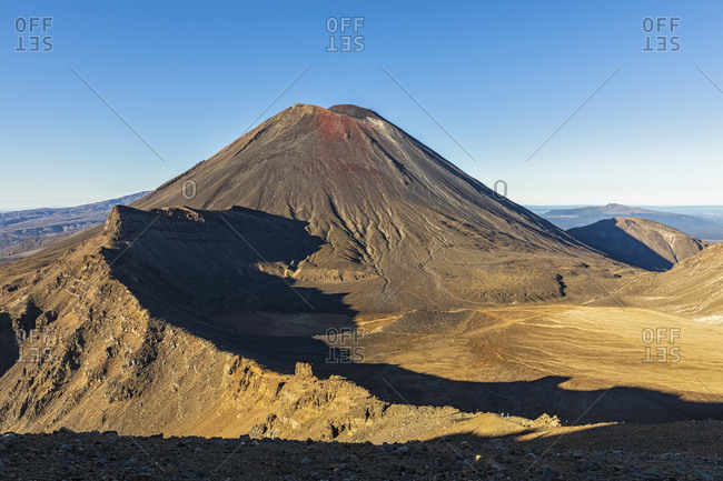 New Zealand- Oceania- North Island- Tongariro National Park- North Island Volcanic Plateau- Tongariro Alpine Crossing Trail- Mount Ngauruhoe and South Crater