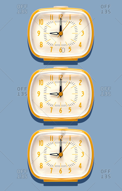 3D Illustration- yellow alarm clocks at nine o'clock on blue background