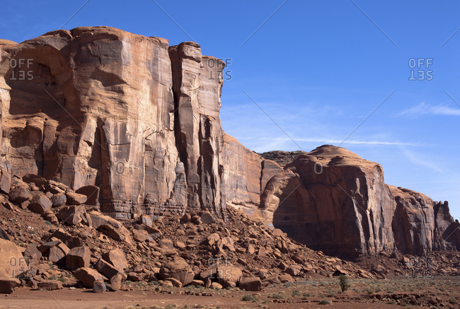 USA- Arizona- Brown rock wall in Monument Valley