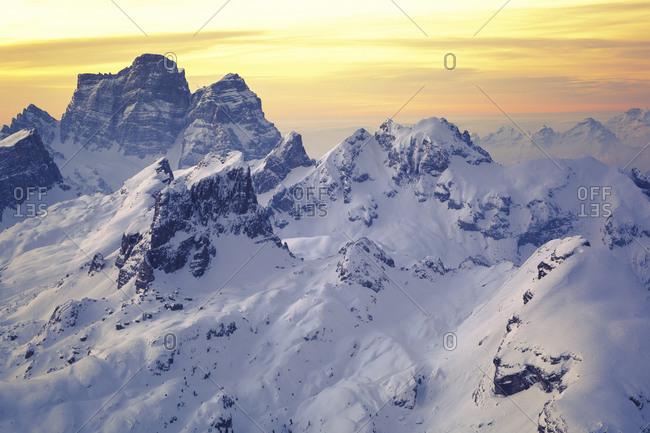 Italy- Trentino-Alto Adige- Aerial view of snowcapped peaks of Dolomites