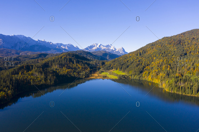 Germany- Bavaria- Krun- Scenic view of Barmsee lake with Karwendel range in background