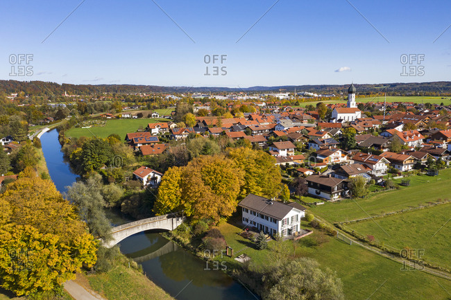 Germany- Bavaria- Geretsried- Aerial view of countryside town in autumn
