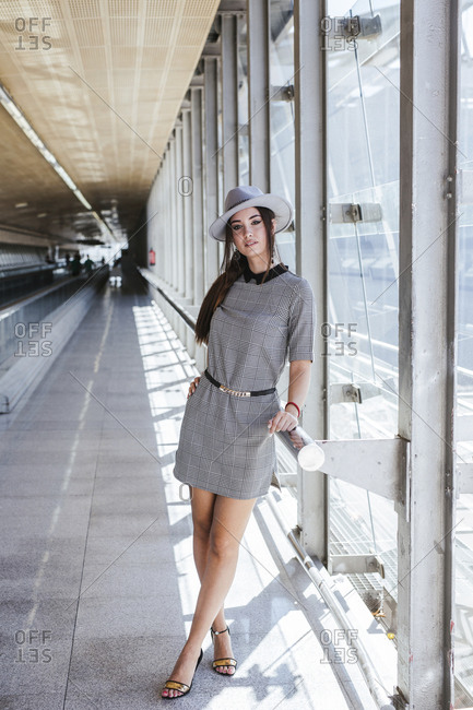 Portrait of fashionable young woman at the airport