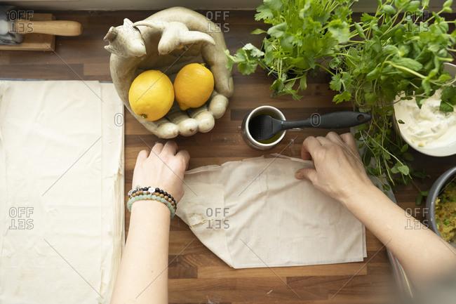 Preparing Samosas in the kitchen