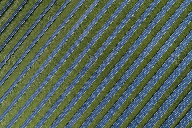 Germany- Bavaria- Aerial view of solar farm