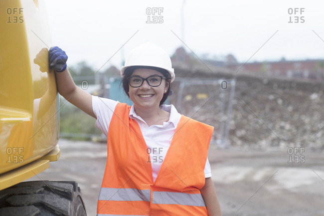 Female construction engineer at construction site