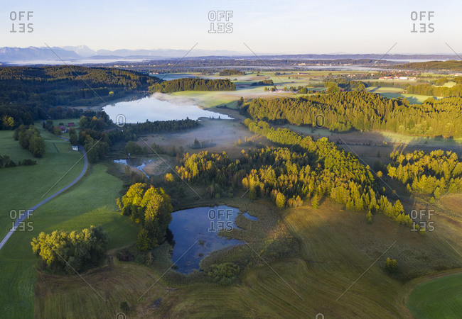 Germany- Bavaria- Upper Bavaria- Toelzer Land- Harmating- View of ponds in landscape in morning light