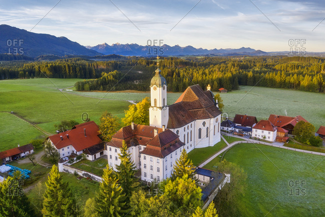 Germany- Bavaria- Upper Bavaria- Pfaffenwinkel- Wies- Aerial view of Pilgrimage Church of Wies to the Scourged Savior