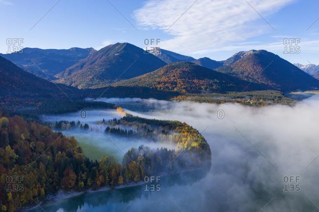 Germany- Bavaria- Lenggries- Aerial view of Sylvenstein Reservoir in autumn