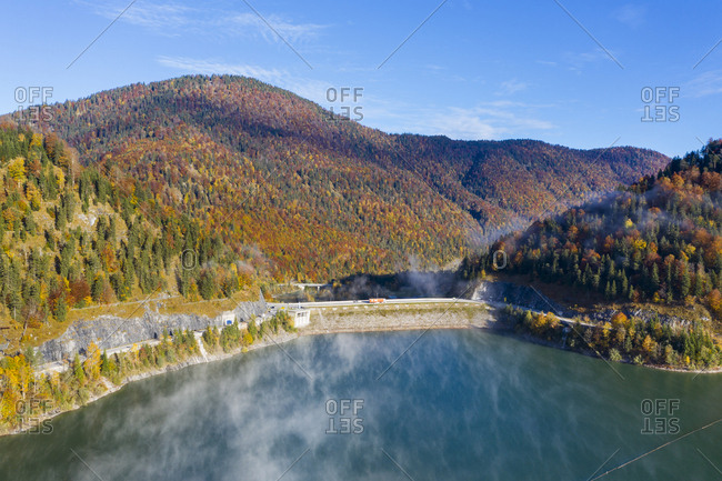 Germany- Bavaria- Lenggries- Aerial view of Sylvenstein Dam in autumn