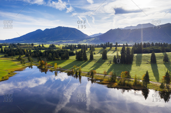 Germany- Bavaria- Halblech- Aerial view of Hegratsrieder See lake in Tannheim Mountains