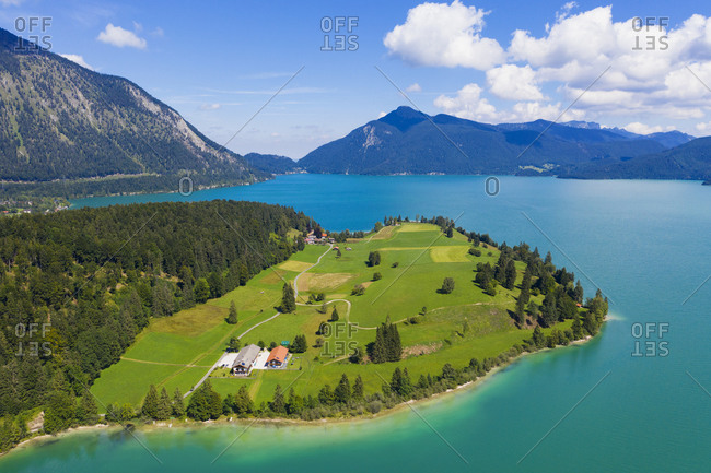 Germany- Bavaria- Aerial view of Lake Walchen and Zwergern peninsula in summer