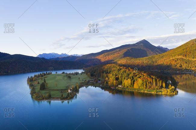 Germany- Bavaria- Scenic view of Lake Walchen and Zwergern peninsula in autumn