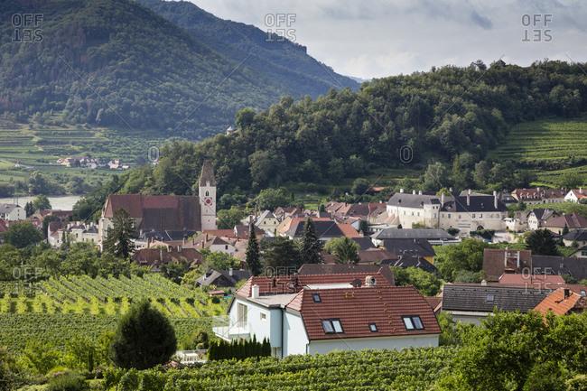 Austria- Lower Austria- Wachau- Spitz an der Donau- View of town and landscape
