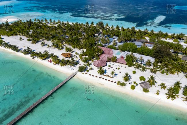 April 5, 2019: Maldives- South Male Atoll- Kaafu Atoll- Aerial view of resort on Fun Island Lagoon