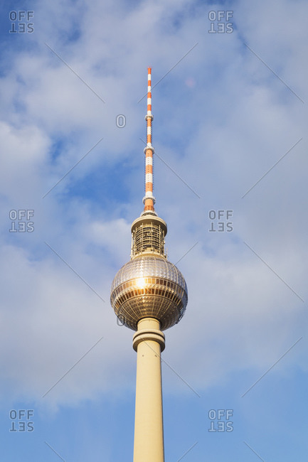 October 5, 2019: Germany- Berlin- Low angle view of Berlin TV Tower standing against clouds