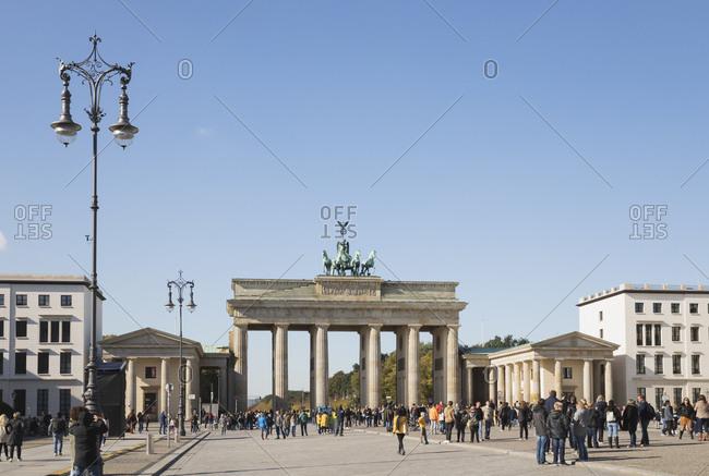 October 7, 2019: Germany- Berlin- Pedestrians in front of Brandenburg Gate