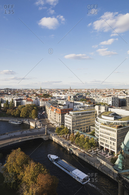 October 7, 2019: Germany- Berlin- City view from Berlin Cathedral towards Friedrichs Bridge- river Spree- James Simon Park and Hackescher Markt