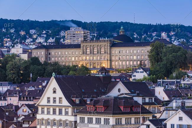 August 22, 2019: Switzerland- Canton of Zurich- Zurich- Swiss Federal Institute of Technology in Zurich at dusk