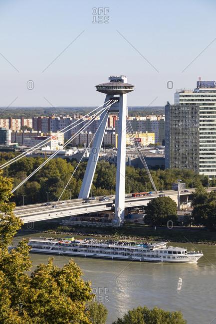 September 4, 2019: Slovakia- Bratislava- UFO restaurant over Most SNP bridge and ship