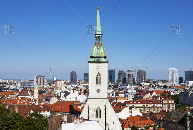 September 4, 2019: Slovakia- Bratislava- St Martins Cathedral and view of old town