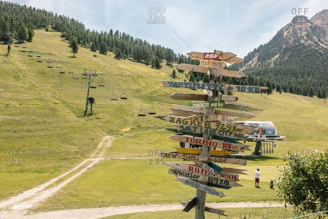 Montgenevre, France - July 18, 2019: Directional signs on ski slopes in summertime