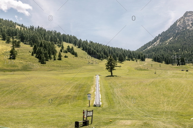 Golf course near ski lift in the French Alps