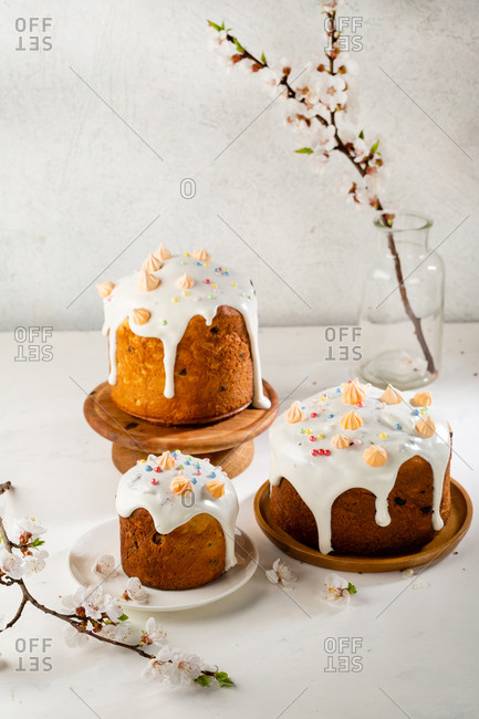 Easter cake and spring branch