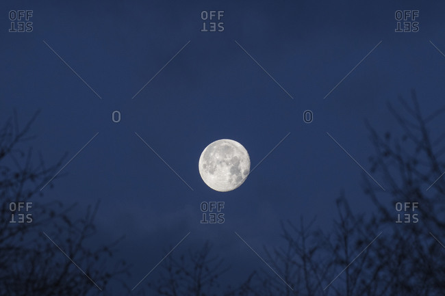Low angle view of moon against sky at dusk