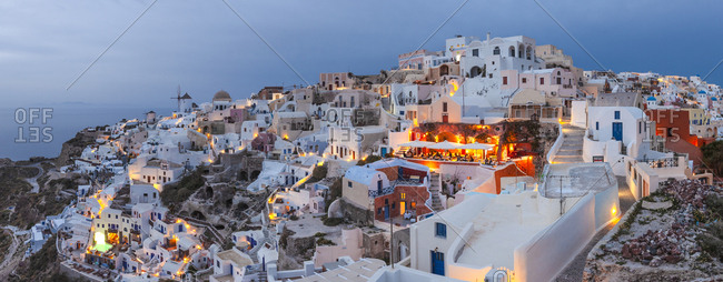 Oia, South Aegean, Greece - March 31, 2013: White houses of Santorini