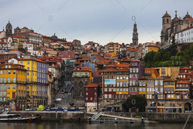 Porto, Portugal - May 7, 2014: Colorful buildings of Porto