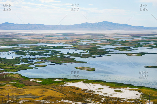 A lake and wetland landscape from above, outside of Salt Lake City.