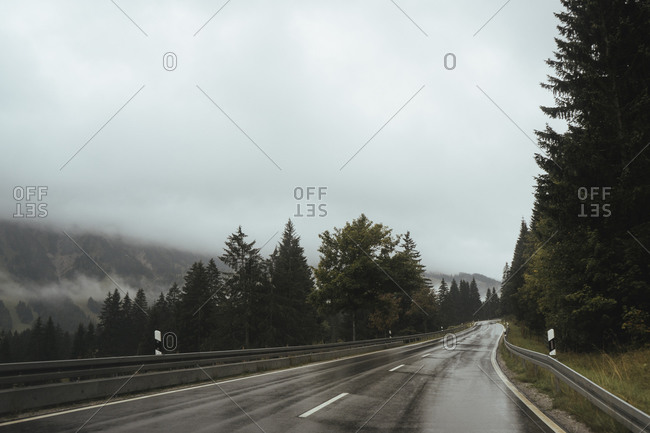 Empty wet road by trees against sky during foggy weather