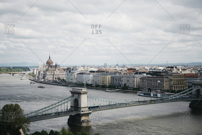 High angle view of Budapest City and the Szechenyi Chain Bridge