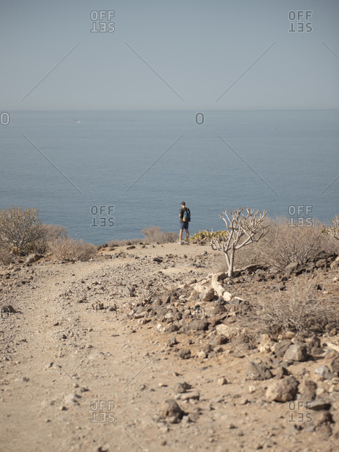 Man With Backpack In Desert Landscape Looking At The Atlantic Ocean