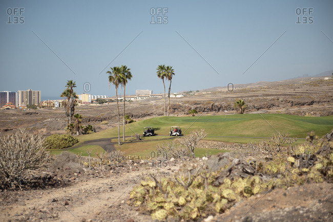 Two golf carts moving on the path of a golf course during sunny day