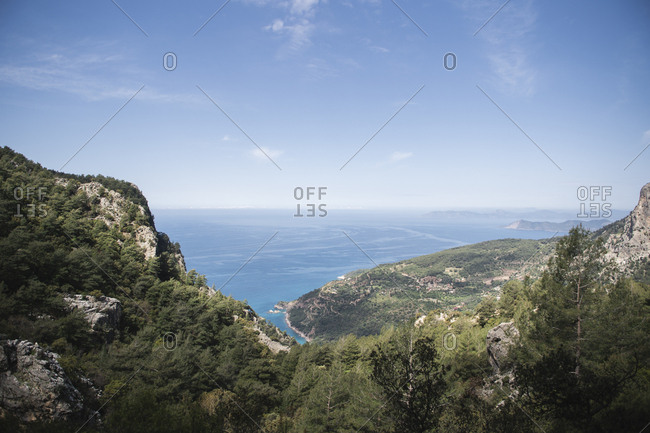 Mediterranean seascape from the top of the mountain during sunny day