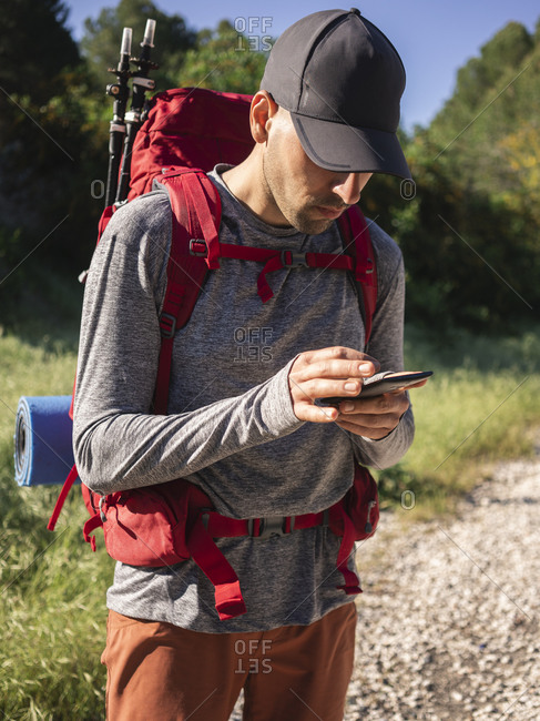 Male hiker using smartphone while walking in forest during sunny day