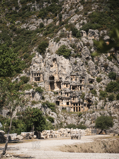 Old caves on rocks, Lycian Rock Tomb, Myra, Turkey