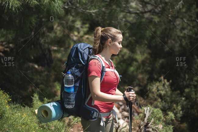 Young female hiker standing and looking down against trees in forest