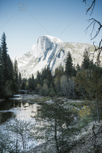 Scenic view of lake against mountains at Yosemite National Park
