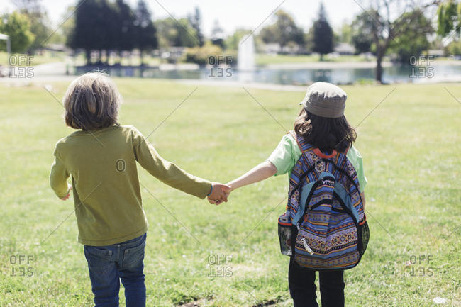 Rear view of brothers holding hands while standing in park during field trip